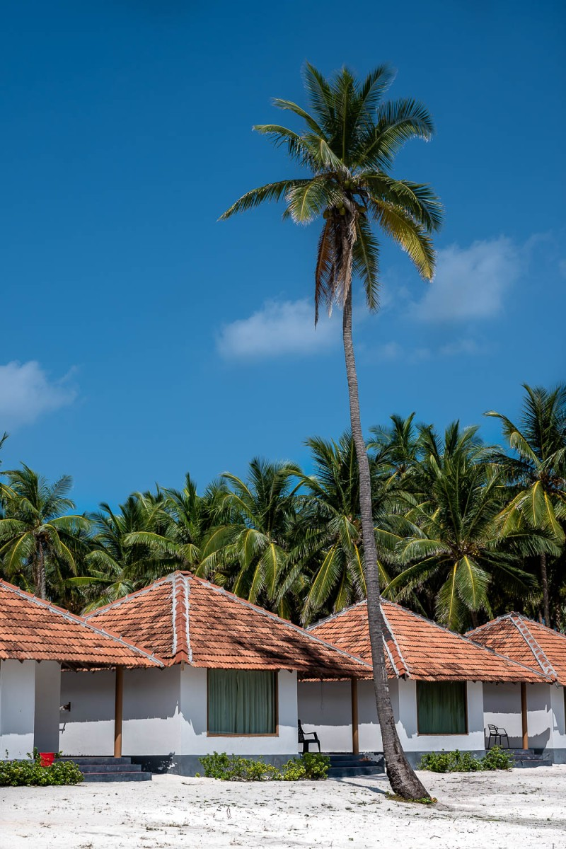 Hotel bungalows, Agatti, Lakshadweep, India.