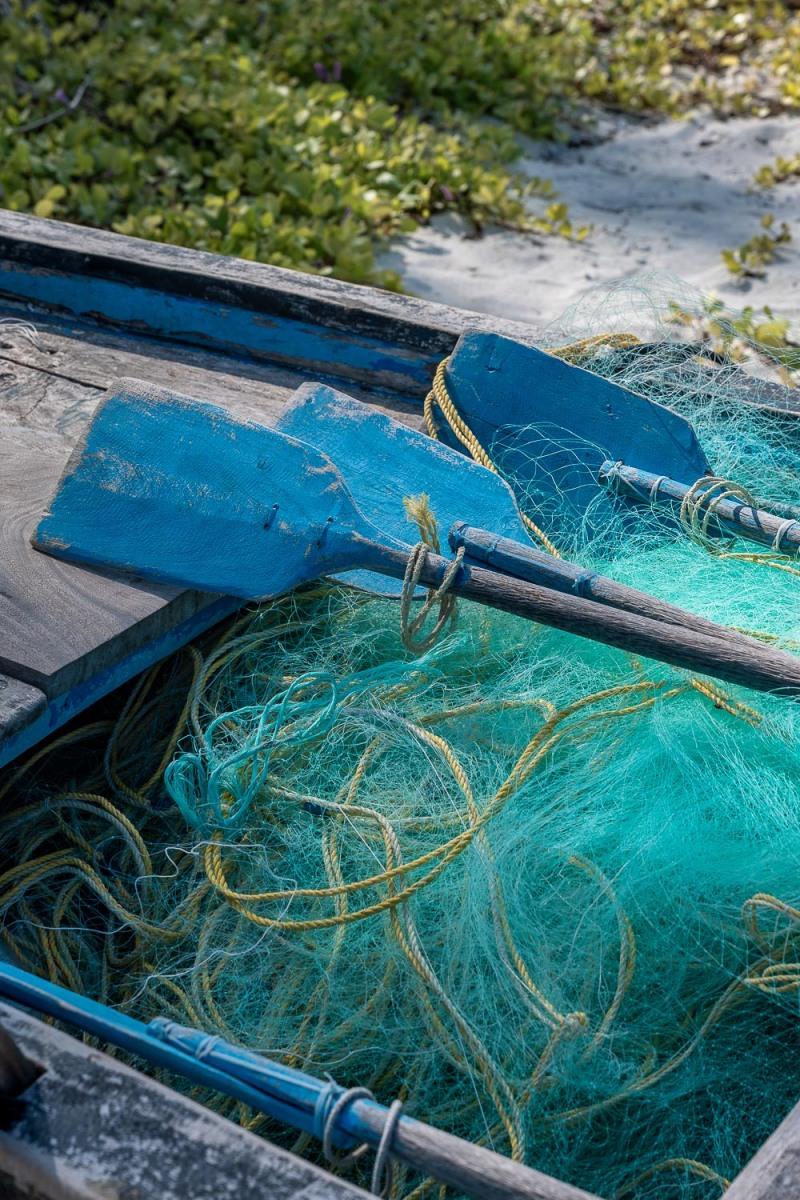 Fishing nets, Bangaram, Lakshadweep, India.