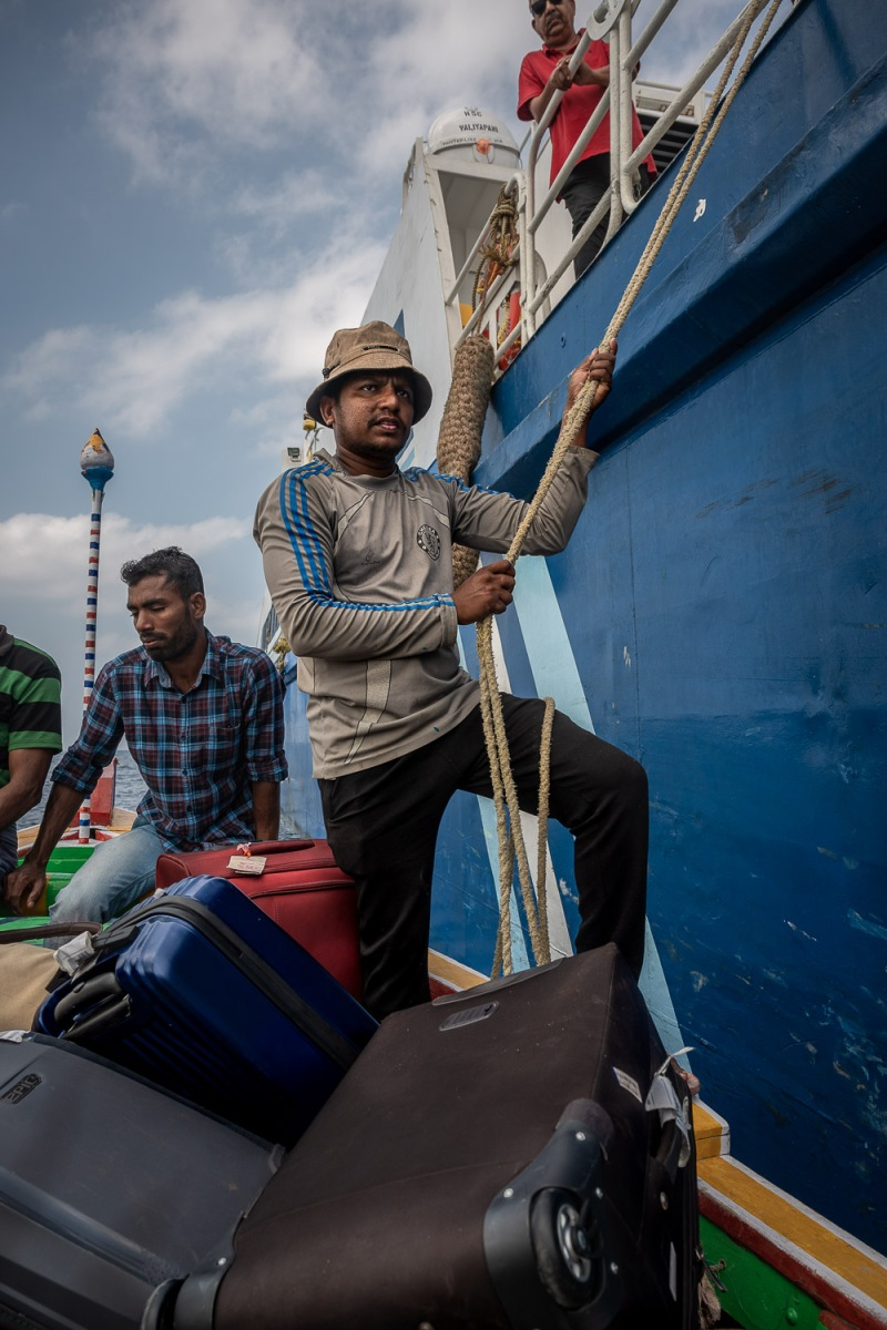 Open sea boarding, Lakshadweep, India.