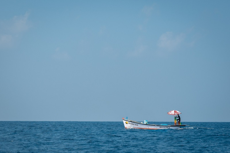 A lonely boat oustide Agatti, Lakshadweep, India.
