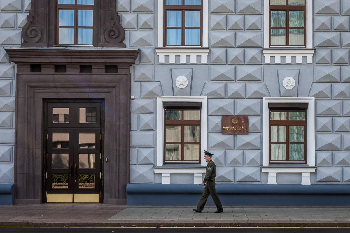 Soldier walking the streets, Minsk, Belarus.
