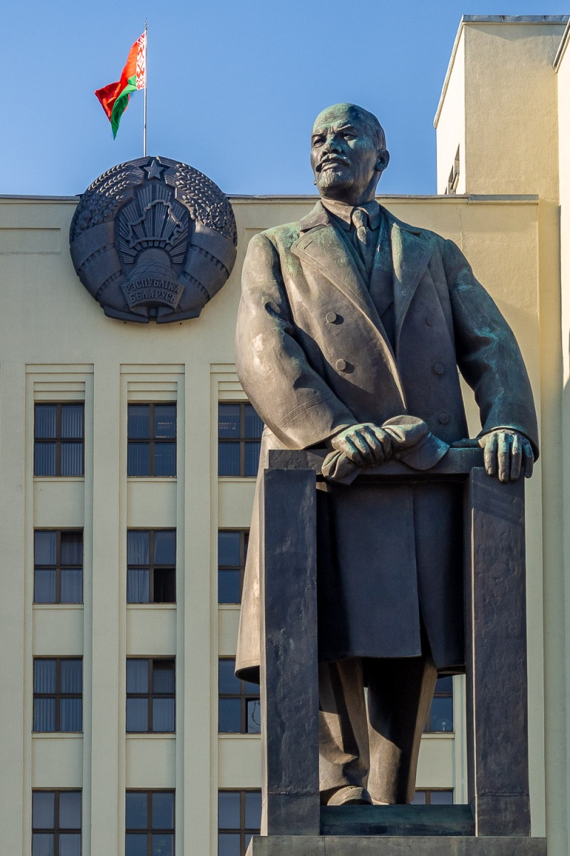 Lenin statue in front of the Government House, Minsk, Belarus.