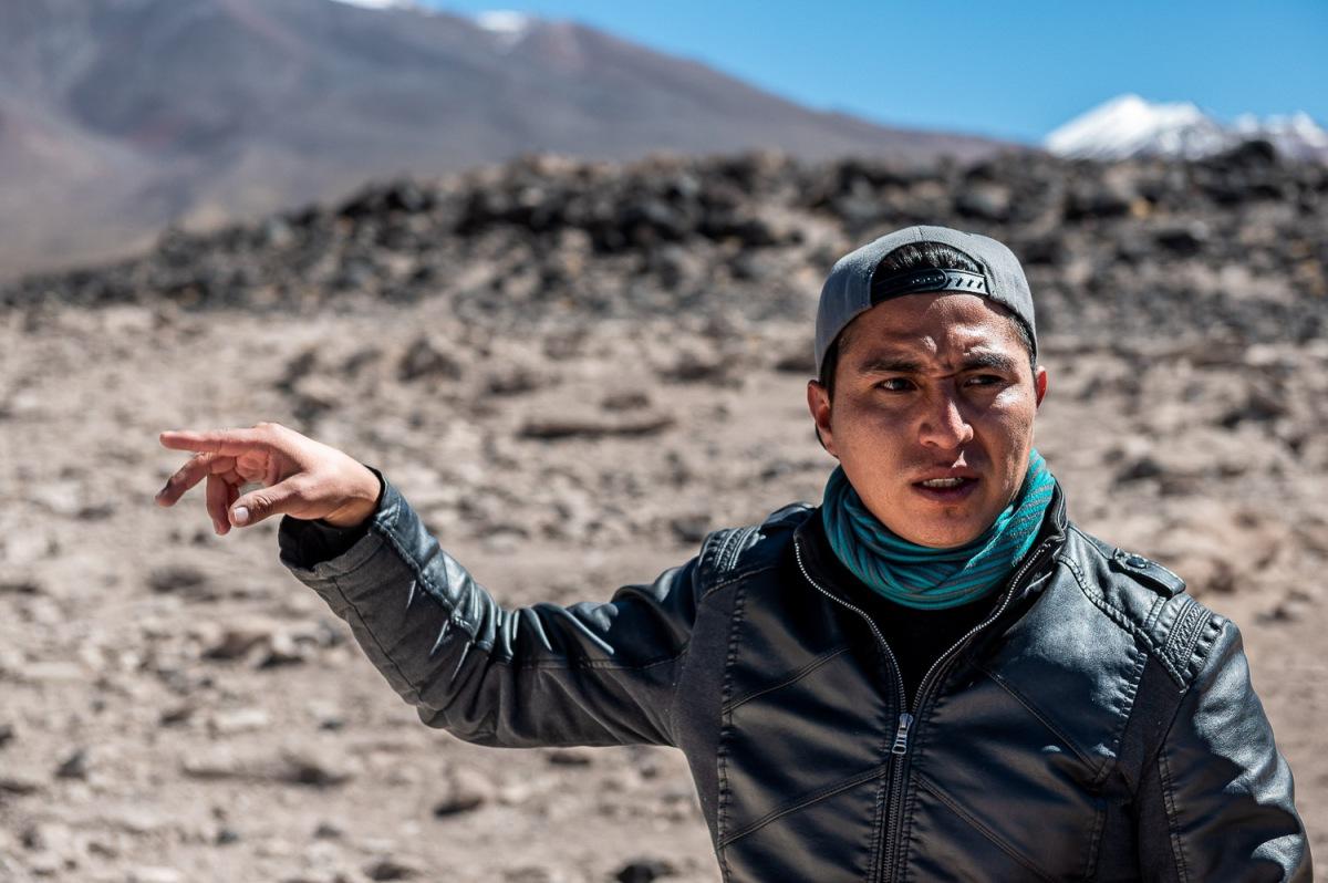 Trekking on rocky grounds, Eduardo Avaroa National Reserve, Bolivia.