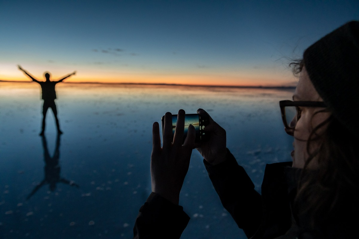 Early morning sunrise, Uyuni Salt Flats, Bolivia.
