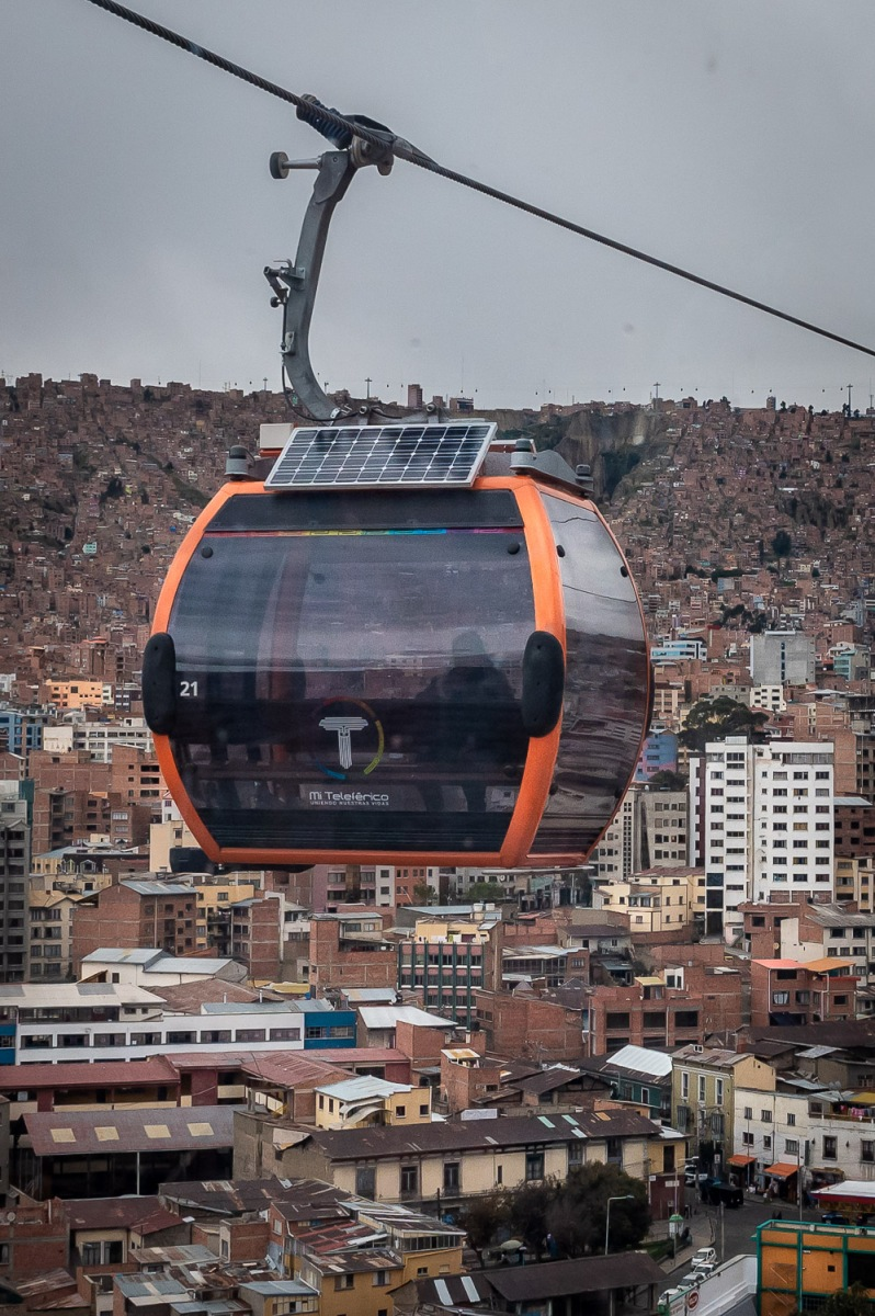 Cable car flying by, La Paz, Bolivia.