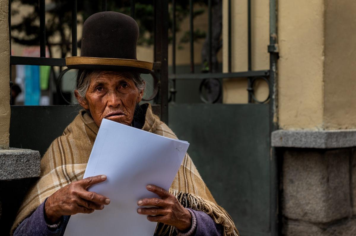 Woman in a bowler hat, La Paz, Bolivia.