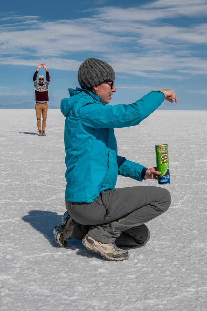 Perspective play, Salar de Uyuni, Bolivia.