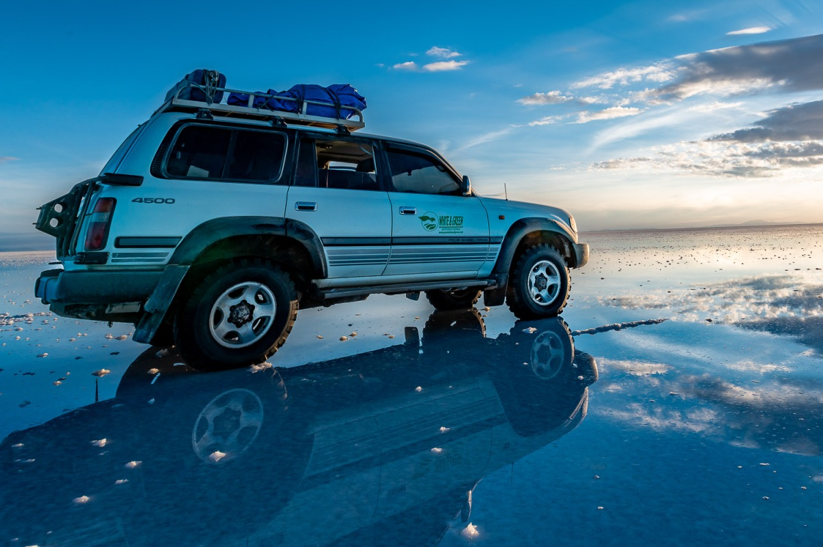 A thin layer of water creats the largest mirror in the world, Salar de Uyuni, Bolivia.