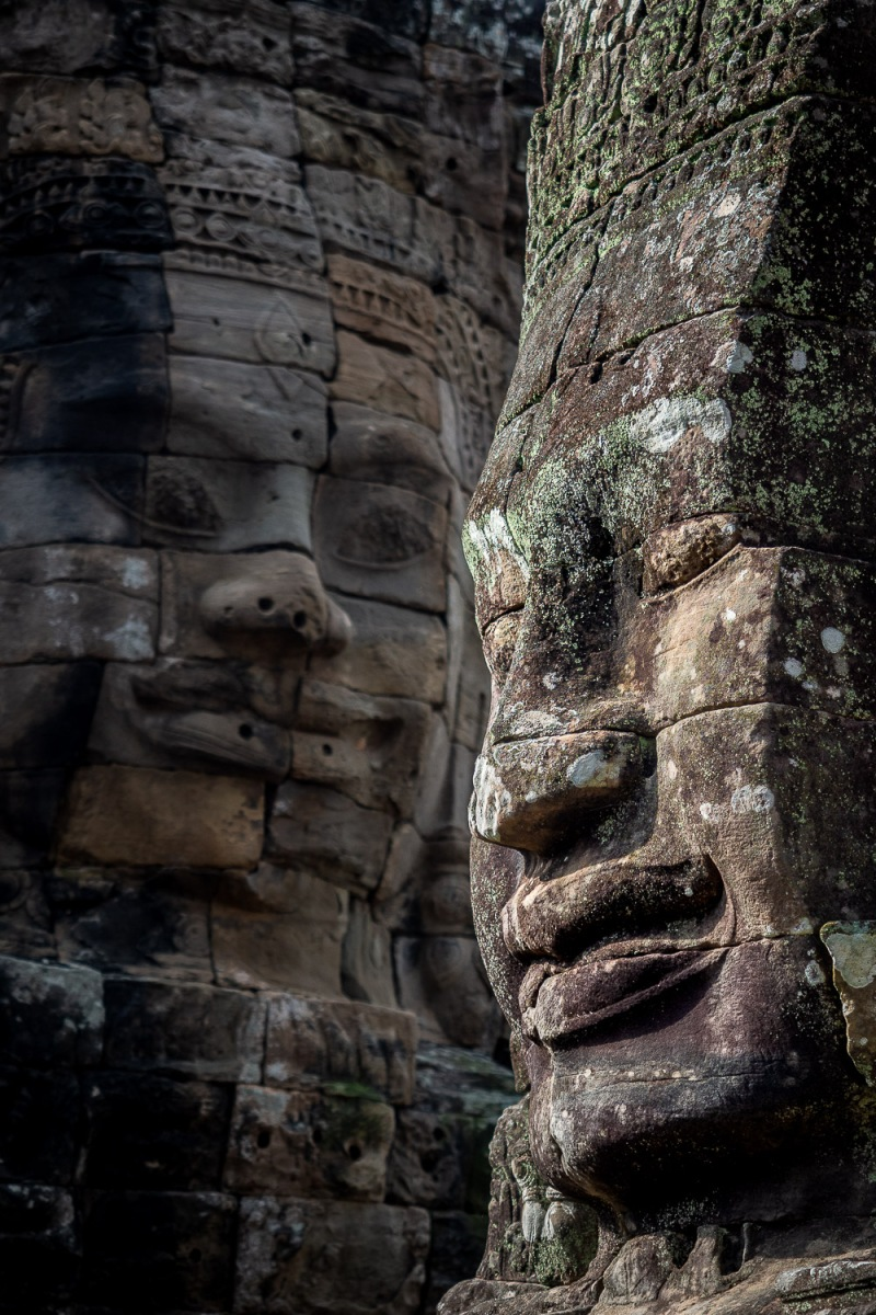 Stone faces at Angkor Thom, Angkor, Cambodia.