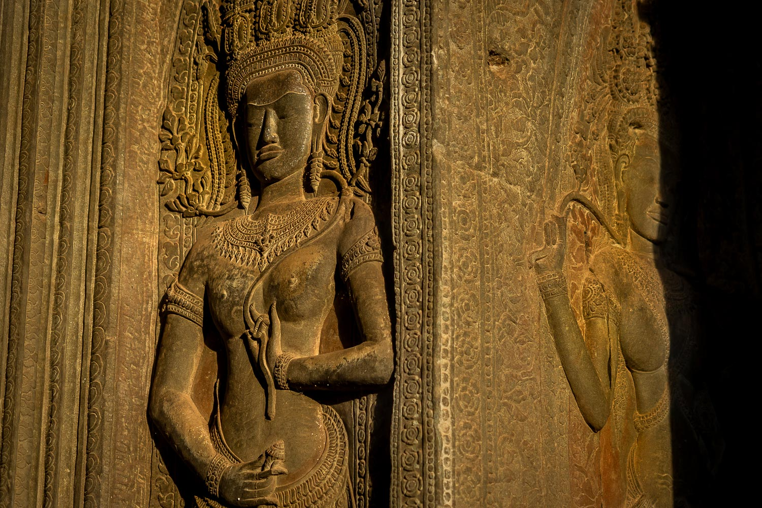 Apsaras wall carvings at Angkor Wat, Angkor, Cambodia.