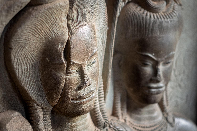 Stone reliefs, Angkor, Cambodia.