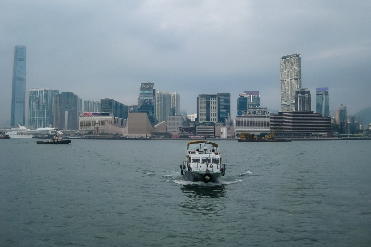 A boat leaving Victoria Harbour for Macau, Hong Kong, China.