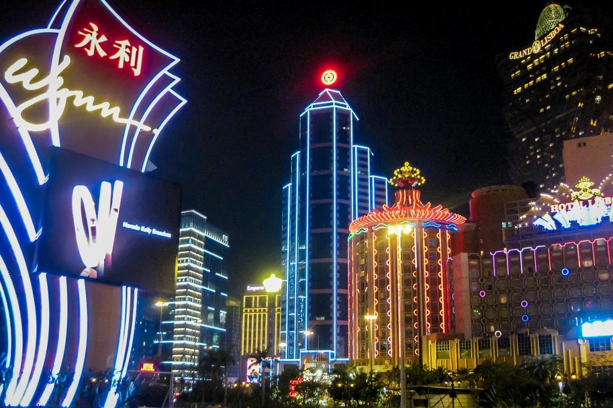 Neon skyline, Macau, China.
