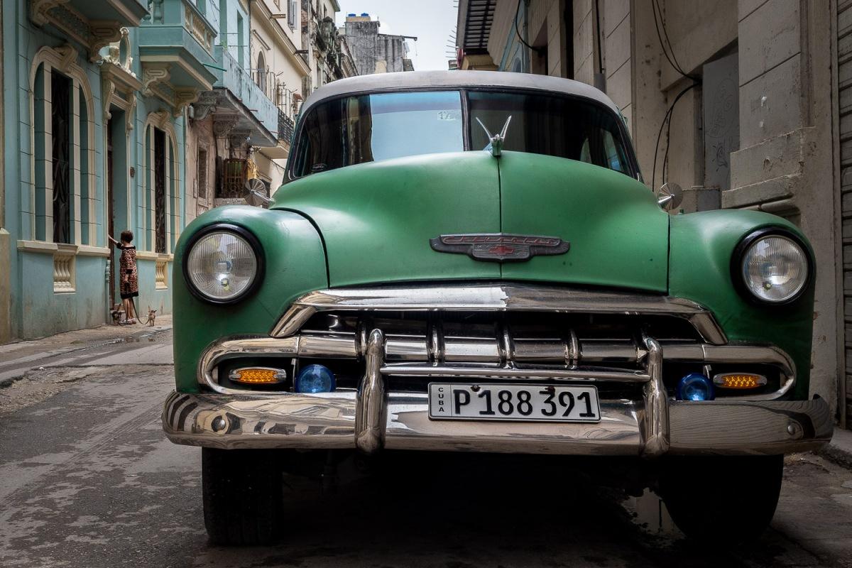 A green Chevrolet, Havana, Cuba.