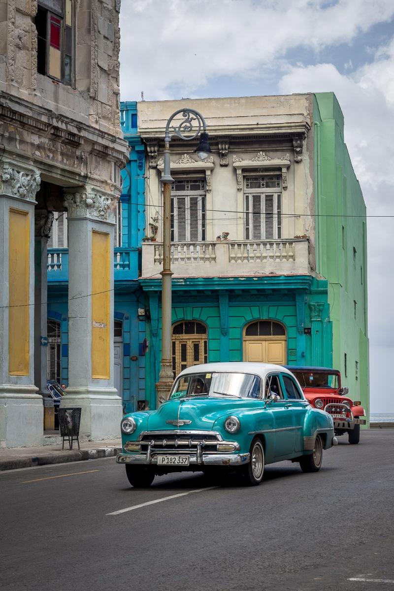 Old cars cruising, Havana, Cuba.