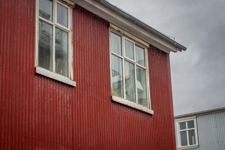 Corrugated steel houses, Reykjavik, Iceland.