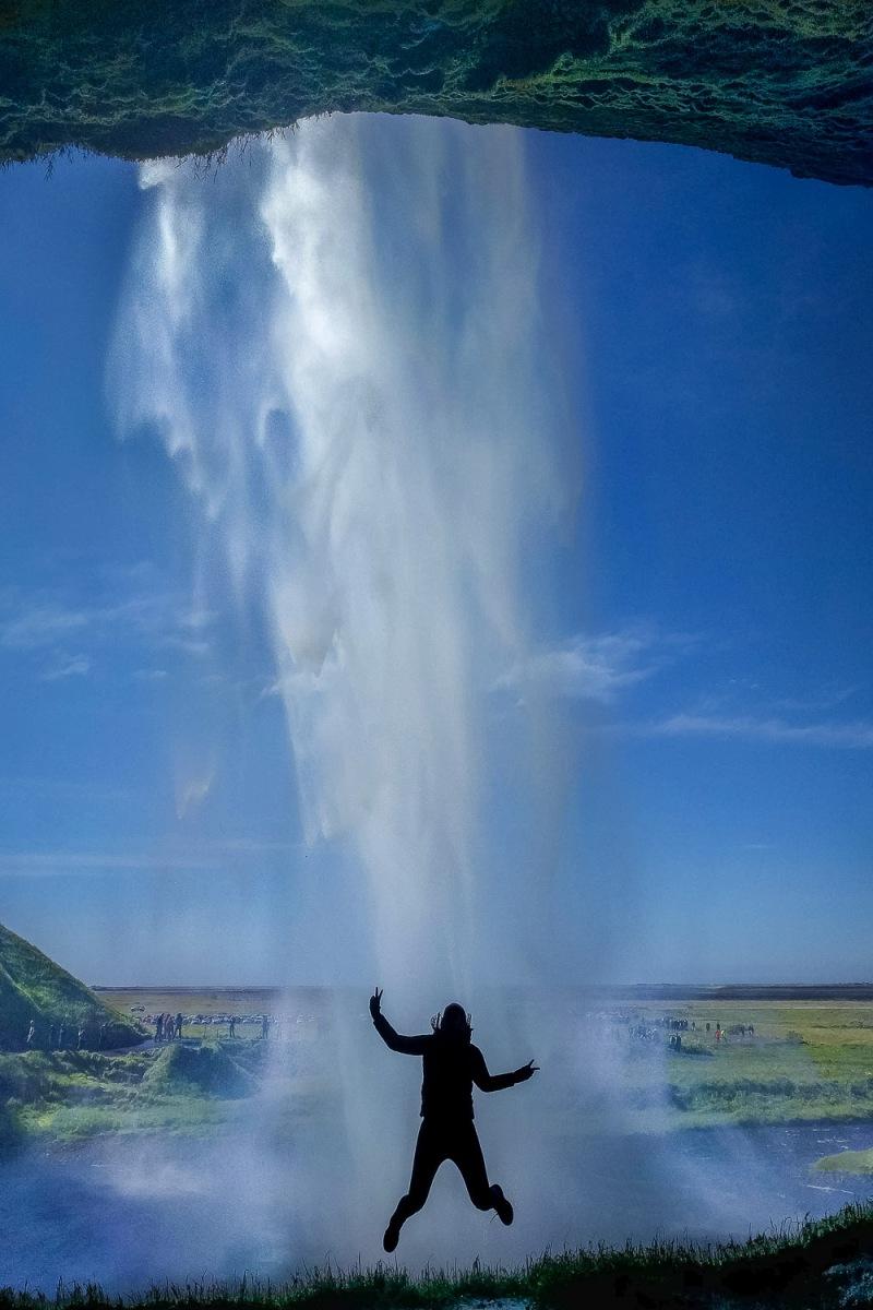 Taking a jump, Seljalandfoss, Iceland.