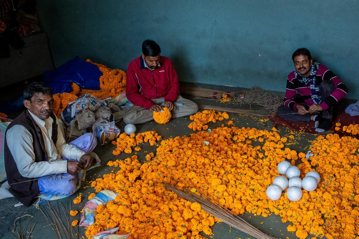 Wedding flower production, Old Delhi, India.