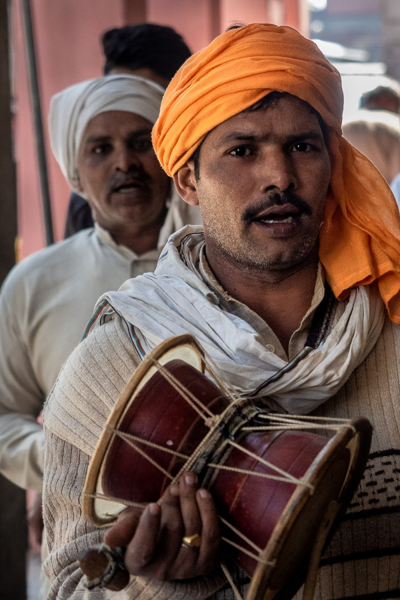 Men at a local music festival, Old Delhi, India.Local music festival, Old Delhi, India.