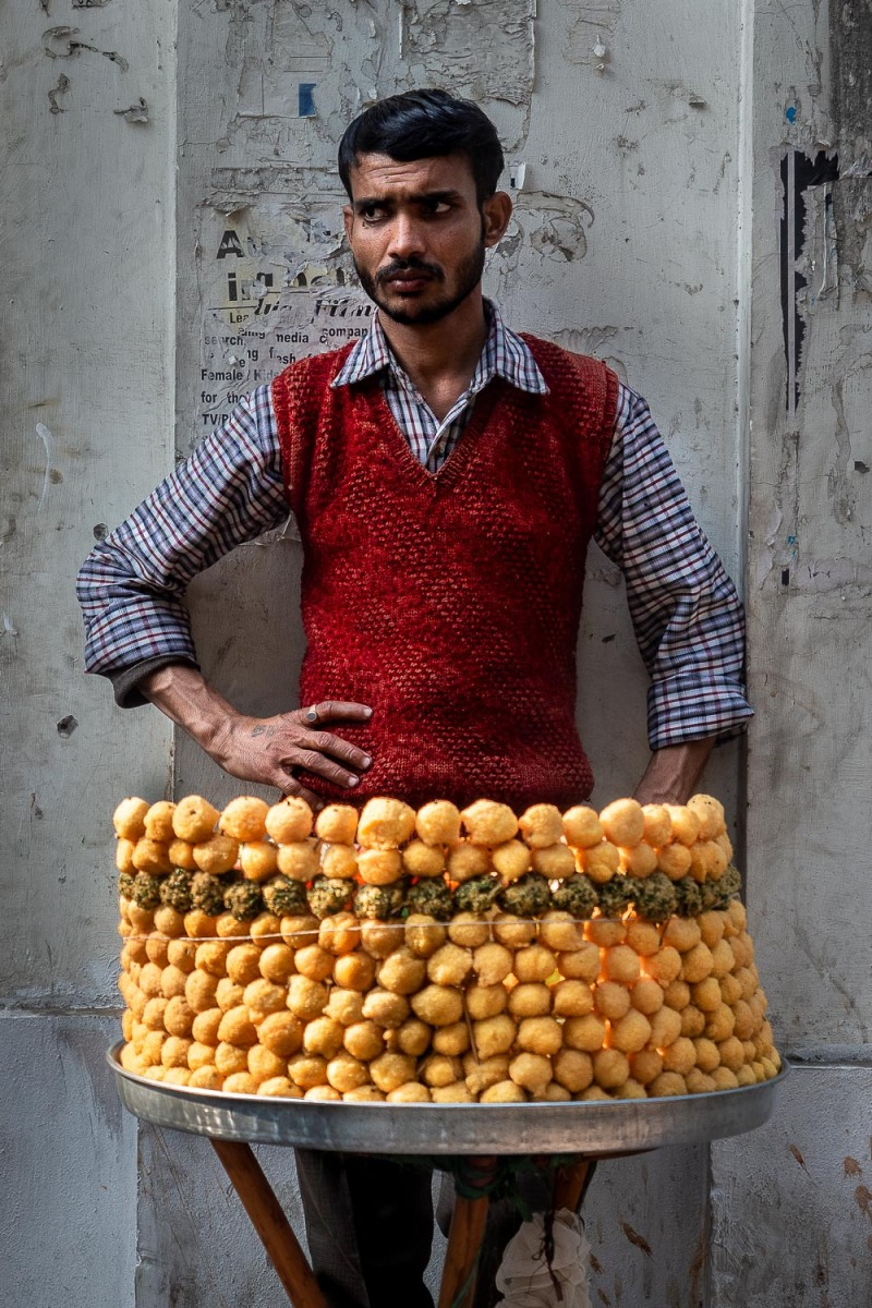 Ram Laddu filled with split gram, Old Delhi, India.