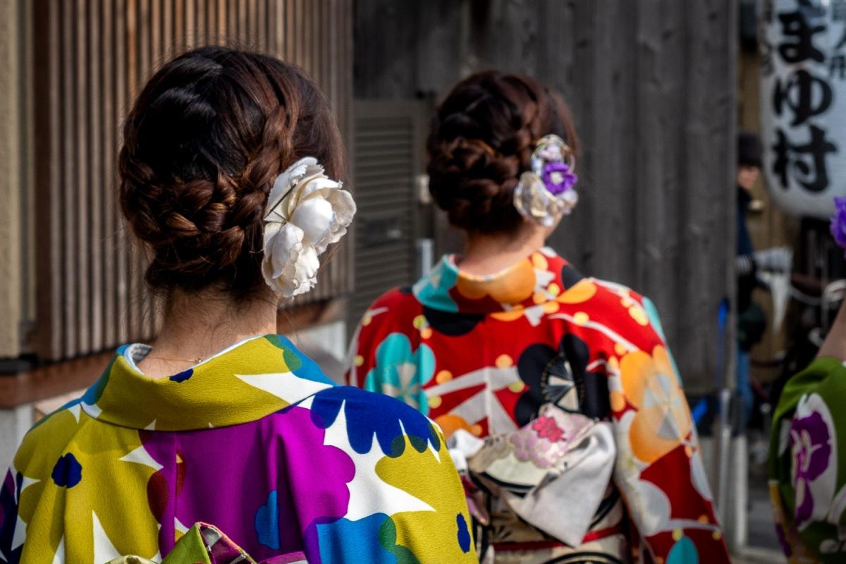 Kimono dresses, Nara, Japan.