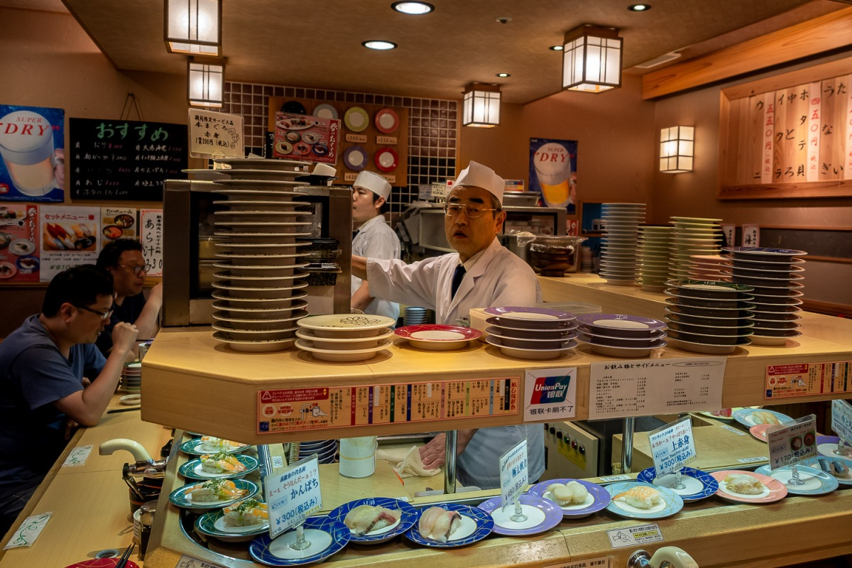 Conveyor belt sushi, Kyoto, Japan.