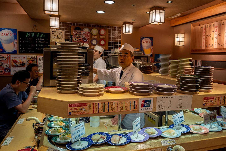 Conveyor belt sushi, Kyoto, Japan.