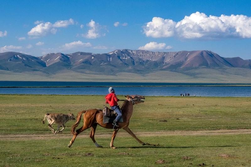 Nomads at Song Kul-Lake, Kyrgyzstan.