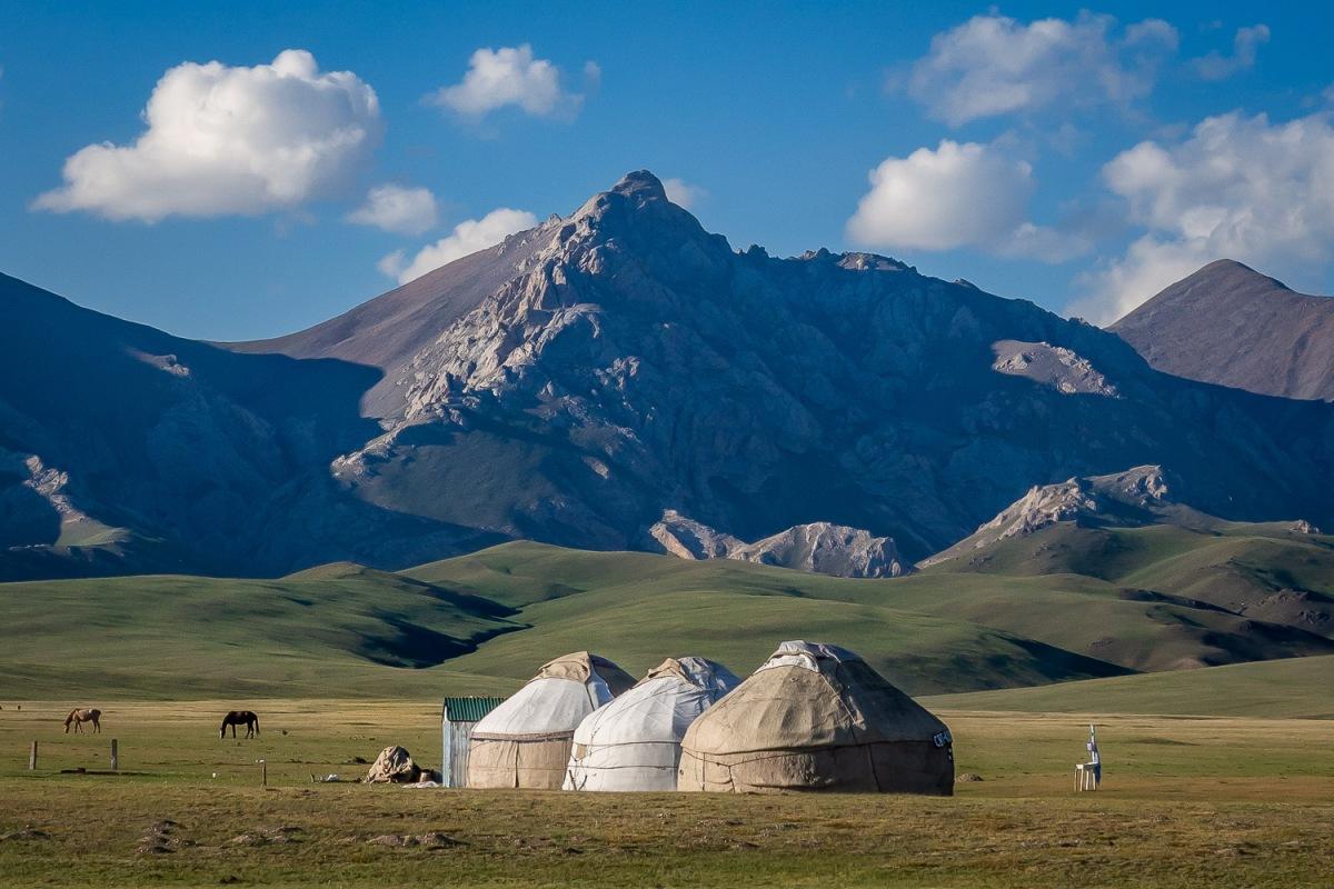 Yurts, Song Kul Lake, Kyrgyzstan.