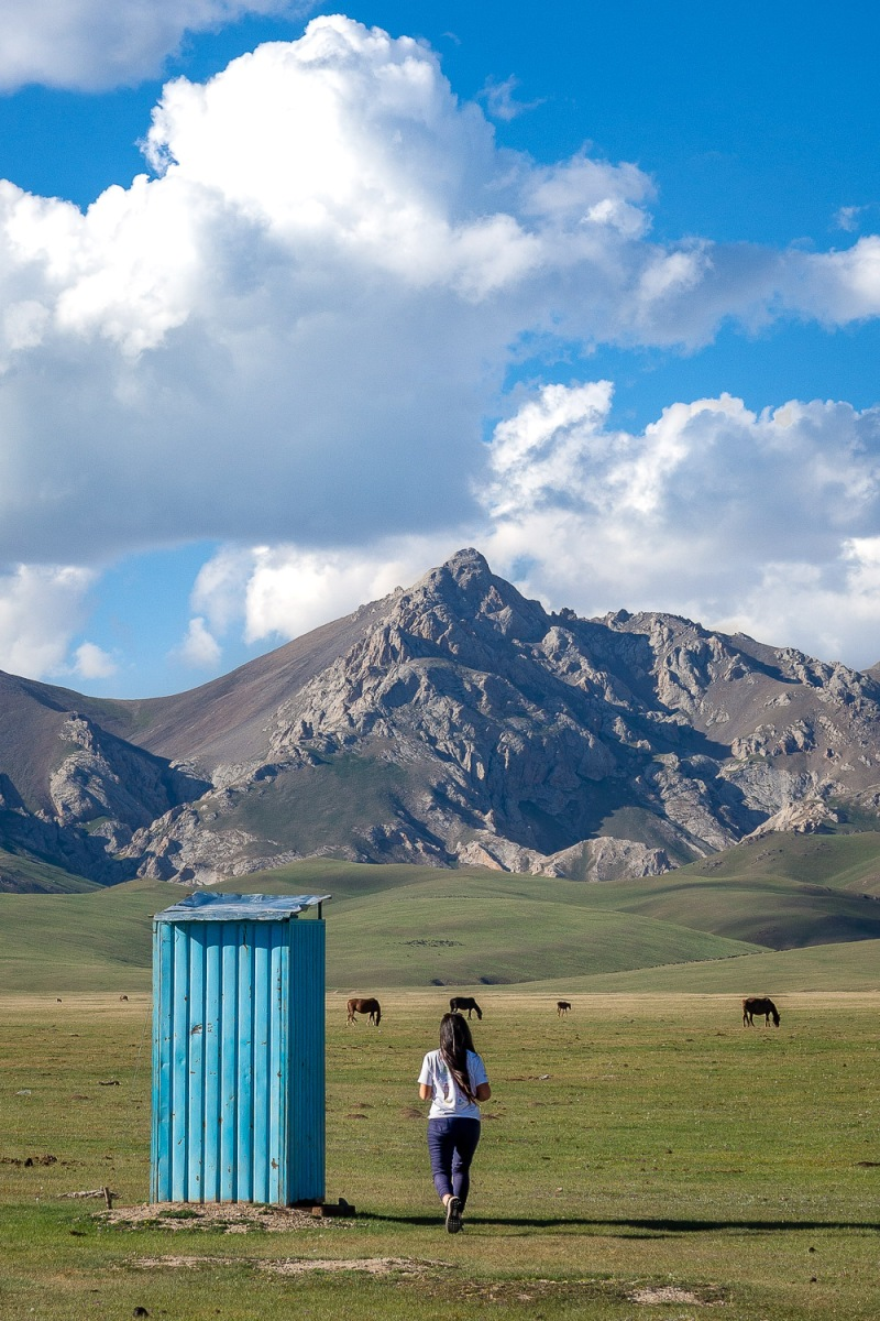Outdoor toilet, Song-Kul Lake, Kyrgyzstan.