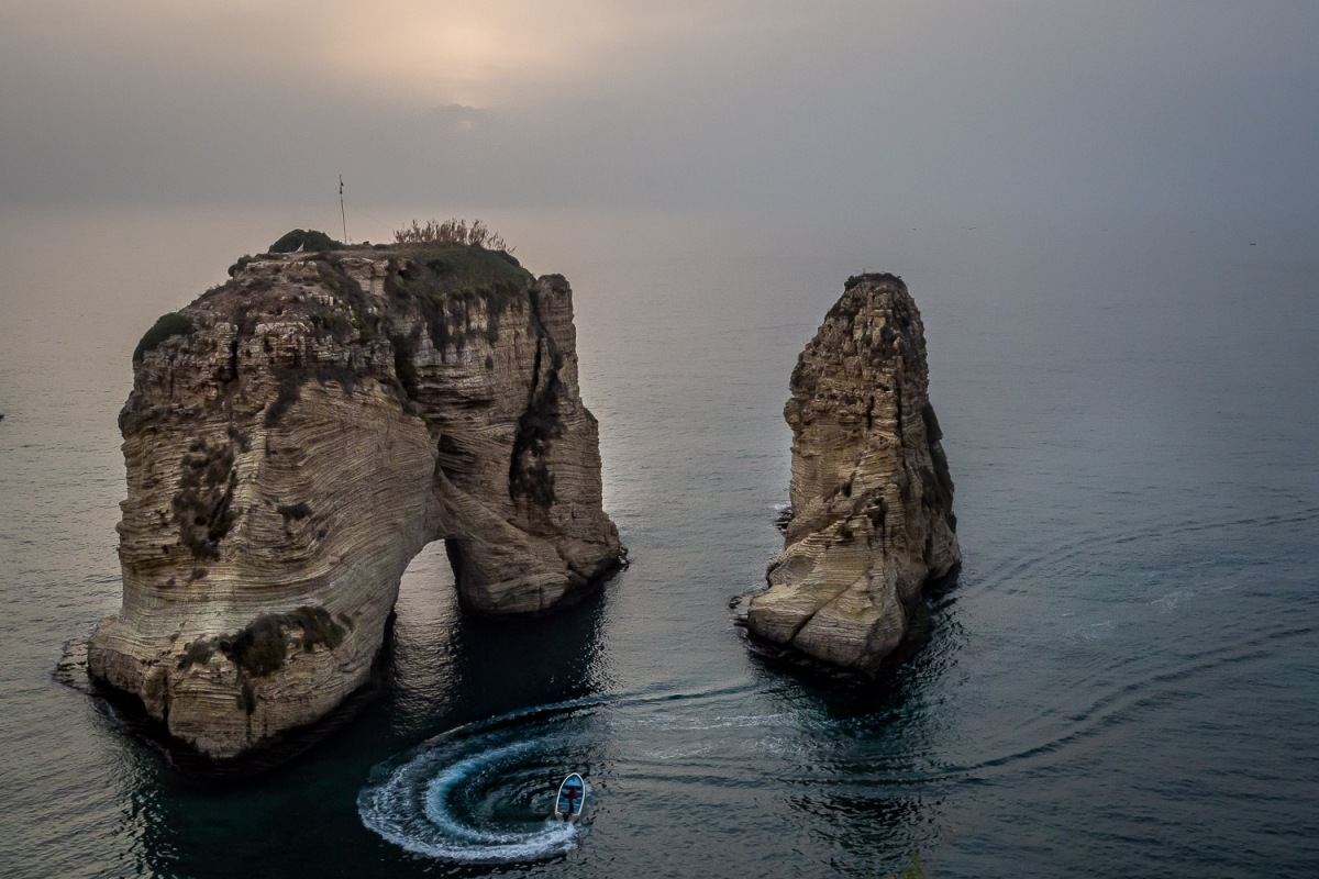 Pigeon Rock, Beirut, Lebanon.