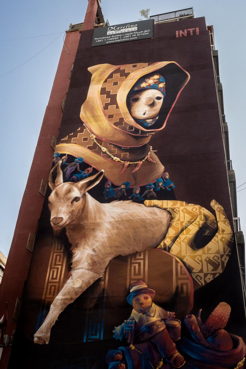 Wall art on Hamra Street, Beirut, Lebanon.