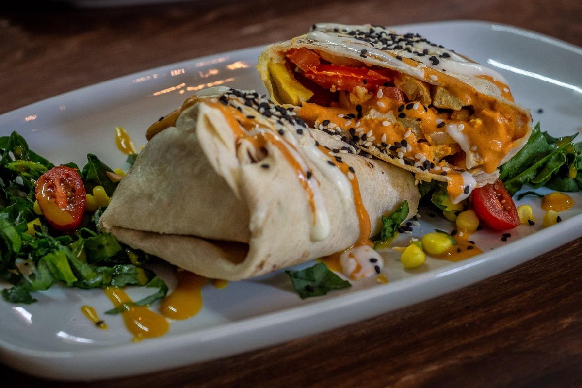 Vegetarian wrap at Vegamo Mx, Centro Histórico, Mexico City.