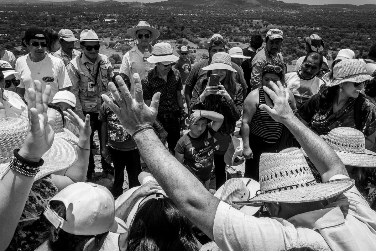 A ritual ceremony at the top of the Sun pyramid, Teotihuacan, Mexico.