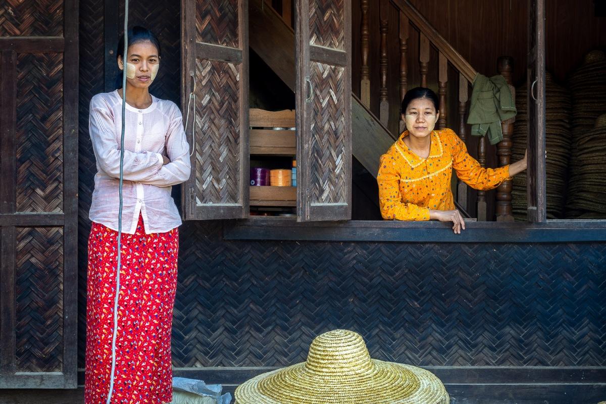 Straw hat shop, Lekkapin Village, Myanmar.