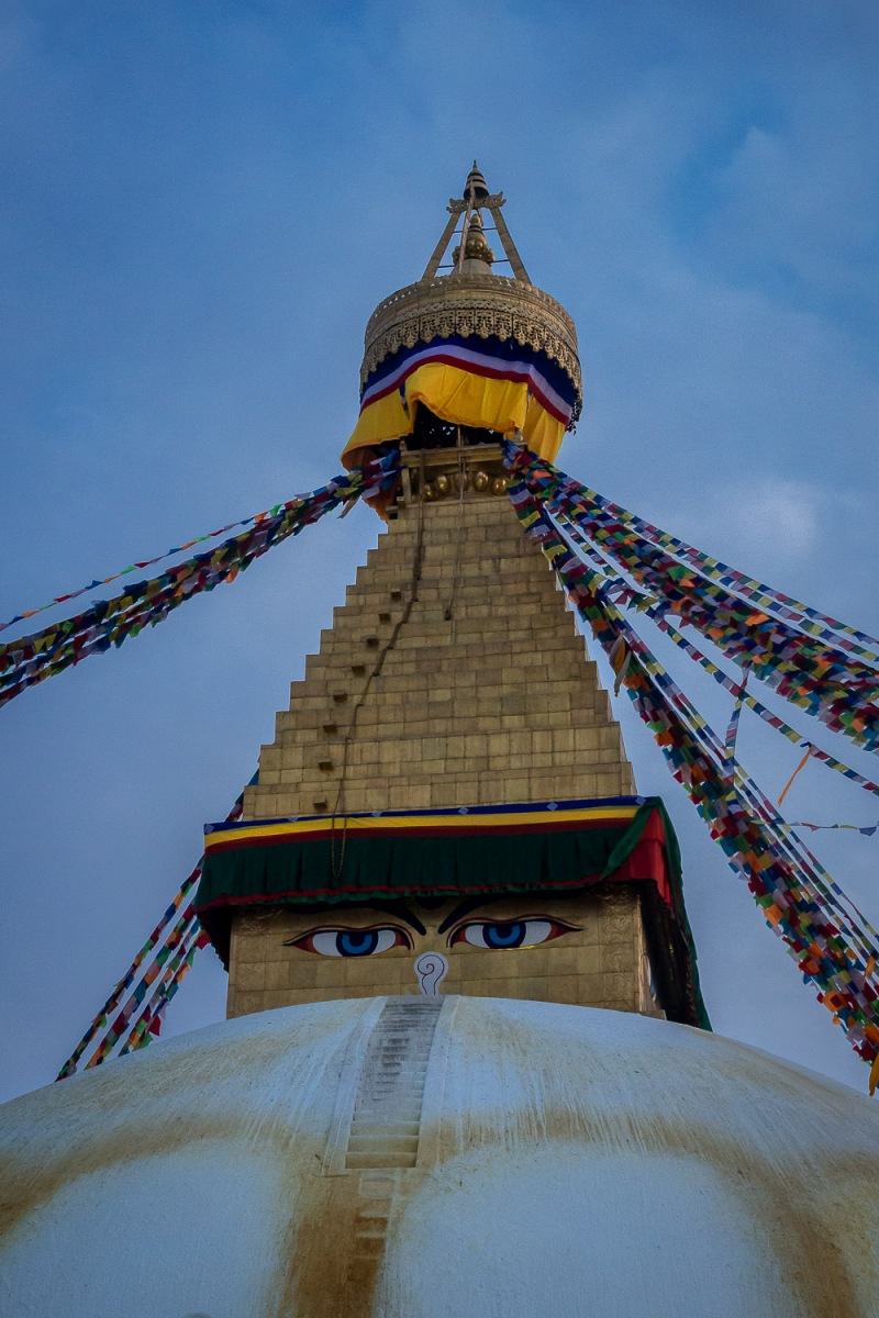Painted eyes in the Boudhanath stupa, Kathmandu, Nepal.