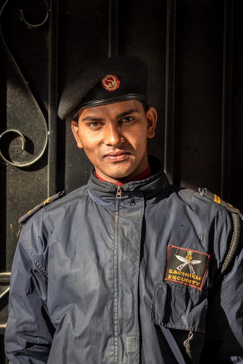 Security guard outside a downtown hotel, Kathmandu, Nepal.