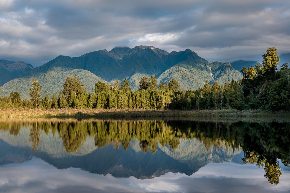 Layers of reflections, Lake Matheson, New Zealand.