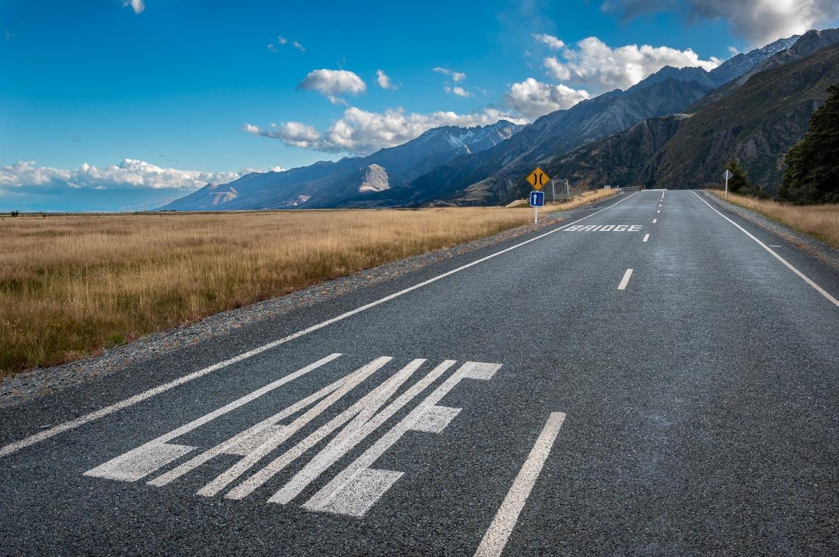 One bridge lane, Mount Cook National Park, New Zealand