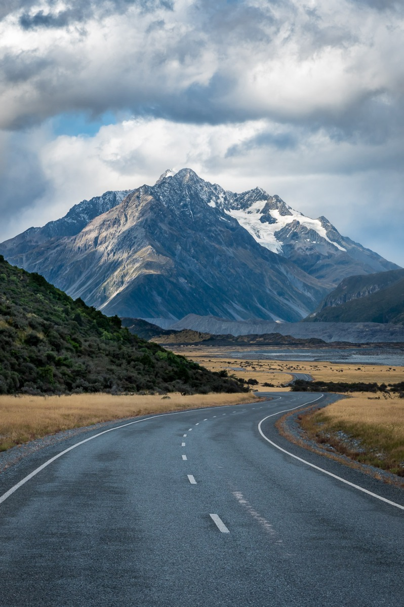 Winding road in Mount Cook National Park, New Zealand.
