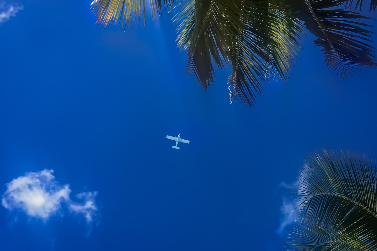A small propjet approaches the island, Culebra, Puerto Rico.