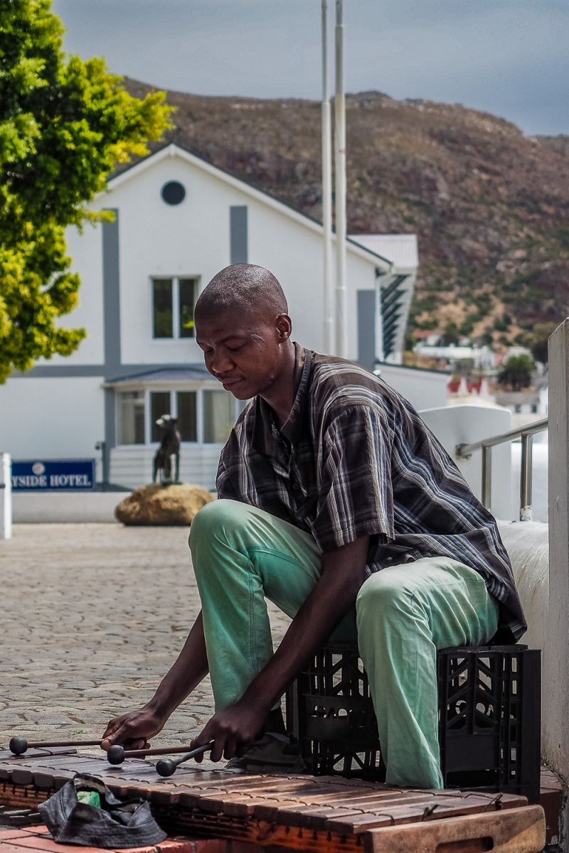 Man playing the xylophone, Simon's Town, South Africa.