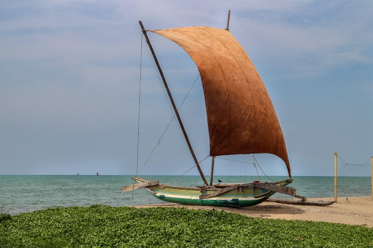 Oruwa fishing boat, Hikkaduwa, Sri Lanka.