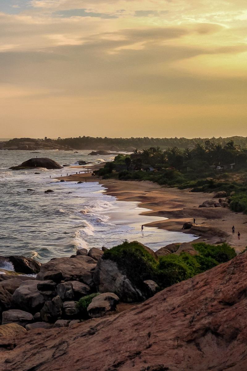 A hidden beach shelted by dense jungle, Kirinda, Sri Lanka.