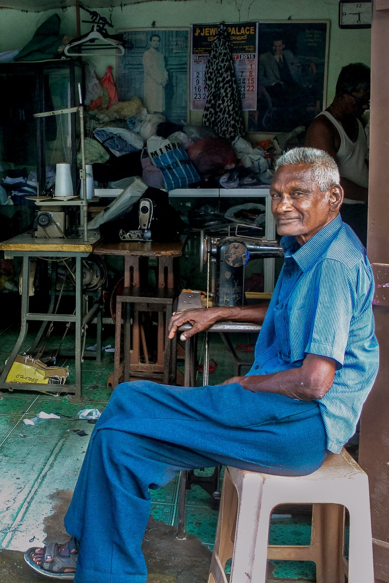 Tailor taking a rest, Negombo, Sri Lanka.