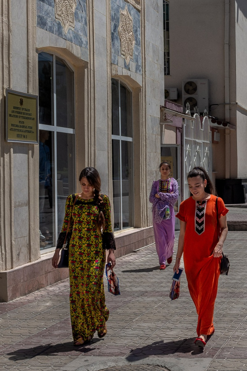 Women on the way to the Sunday bazar, Ashgabat, Turkmenistan.