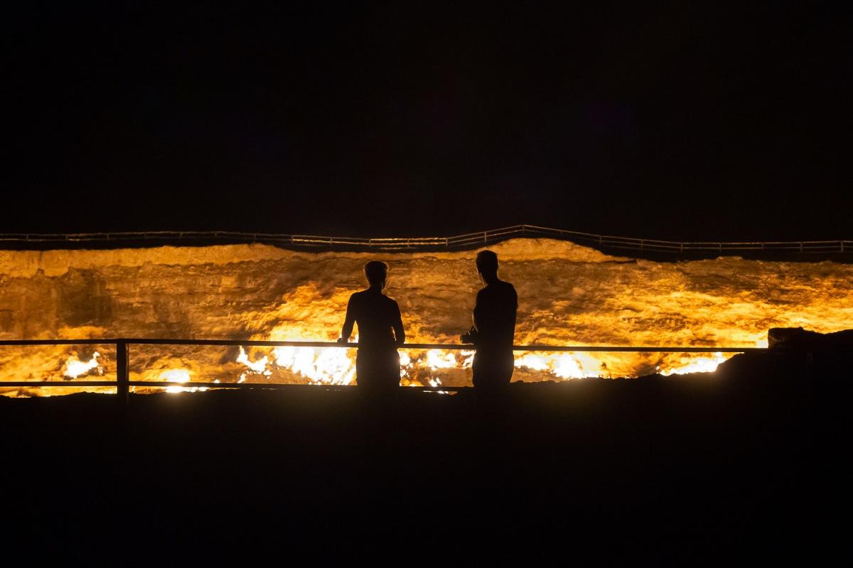 The Darvaza gas crater has been burning for more than 40 years, Karakum Desert, Turkmenistan.