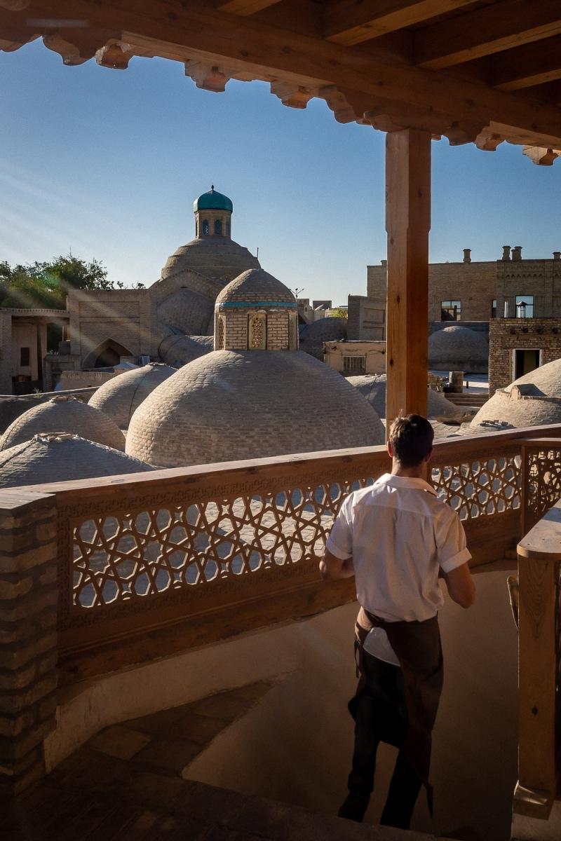 Rooftop restaurant, Bukhara, Uzbekistan.