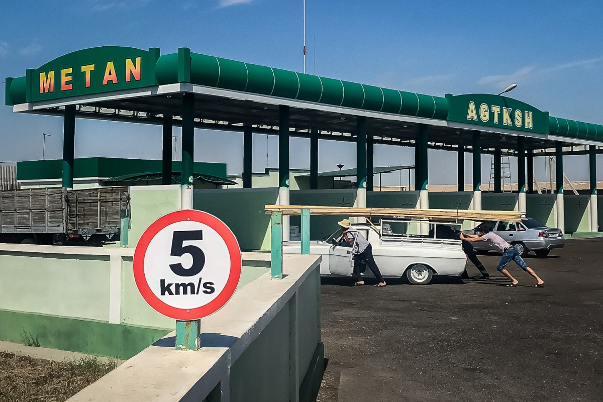 Gas station, Karakalpakstan, Uzbekistan.
