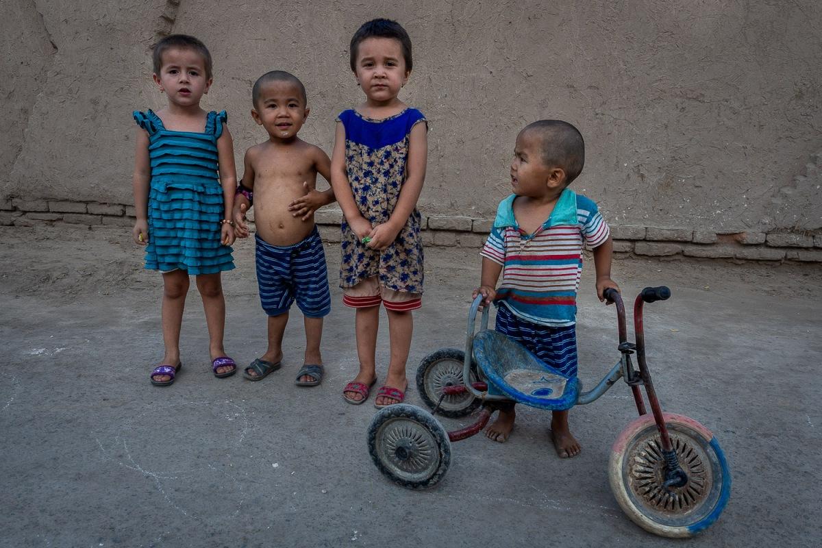 Children inside Itchan Kala, Khiva, Uzbekistan.